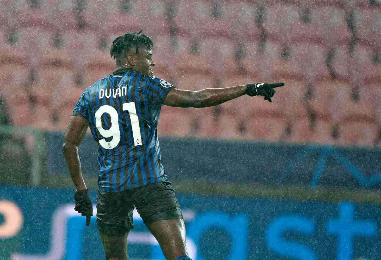 Atalanta, Duvan Zapata durante la partita con il Midjylland (Foto di Henning Bagger / Ritzau Scanpix / AFP via Getty Images)