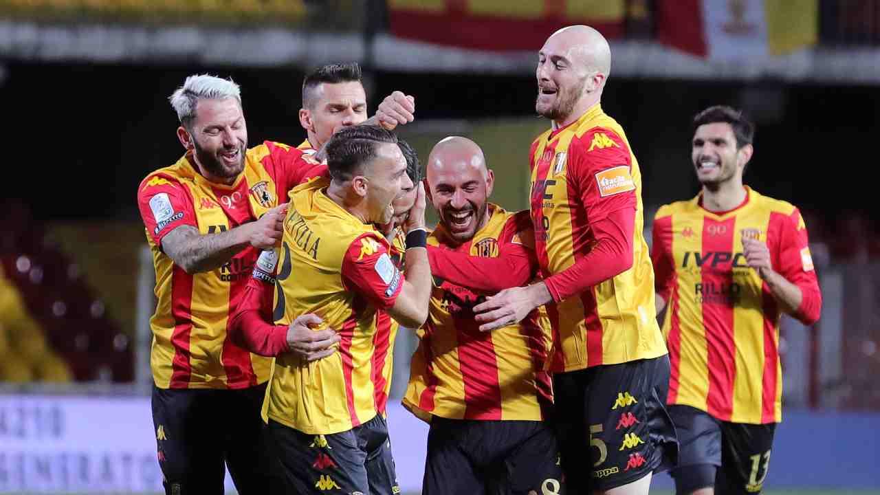 Benevento, esultanza di squadra (Foto di Francesco Pecoraro/Getty Images)