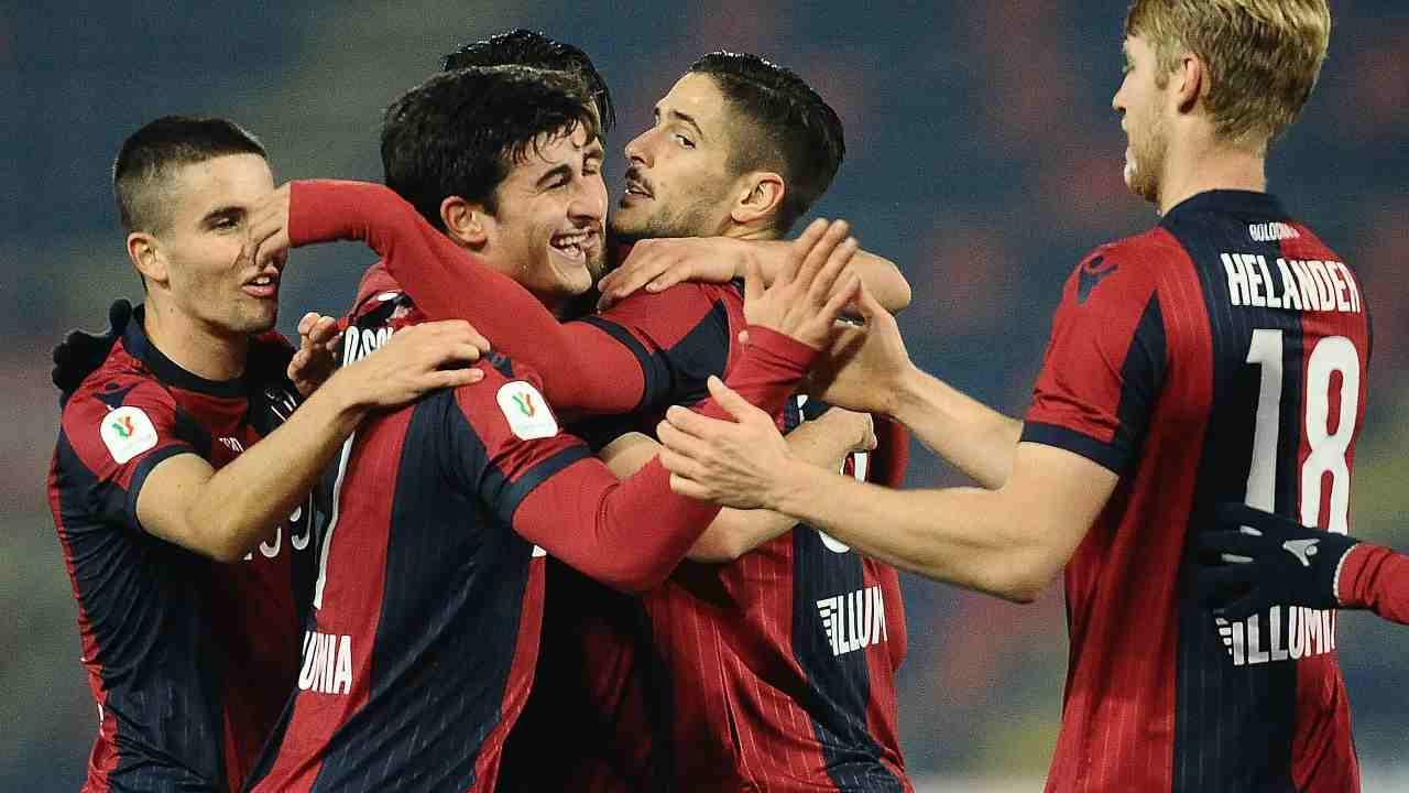 Il Crotone festeggia il secondo gol con il Bologna, 4 dicembre 2020 (Foto di Mario Carlini / Iguana Press/Getty Images)