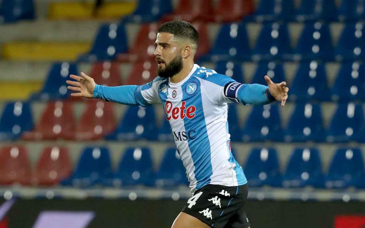 Lorenzo Insigne, attaccante del Napoli, esulta dopo il gol al Crotone. Getty Images