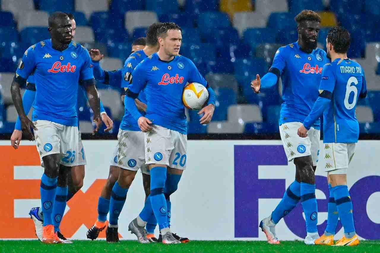 L'esultanza del Napoli contro la Real Sociedad. Getty Images