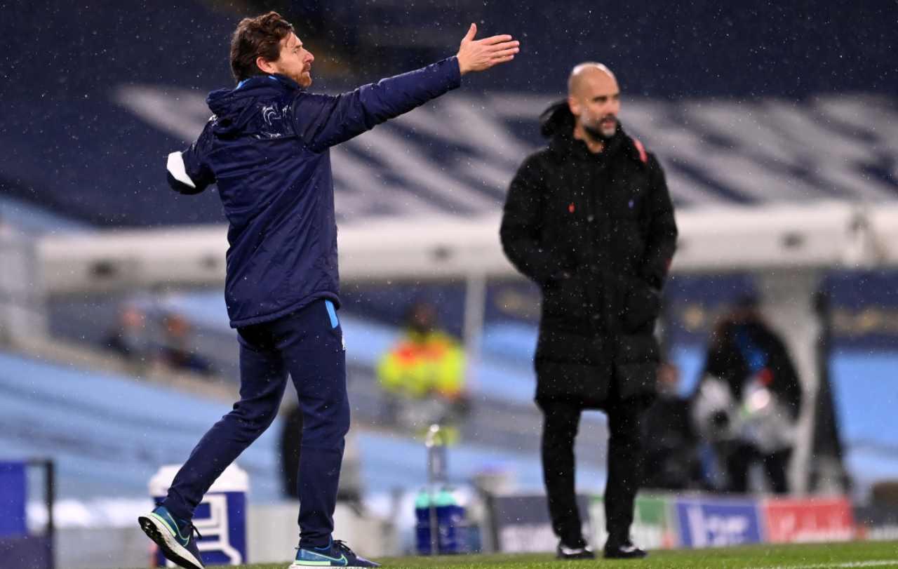 Villas Boas e Guardiola durante Manchester City-Marsiglia