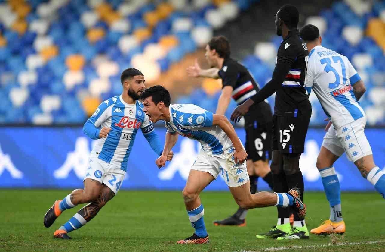 L'esultanza di Lozano contro la Sampdoria. Getty Images