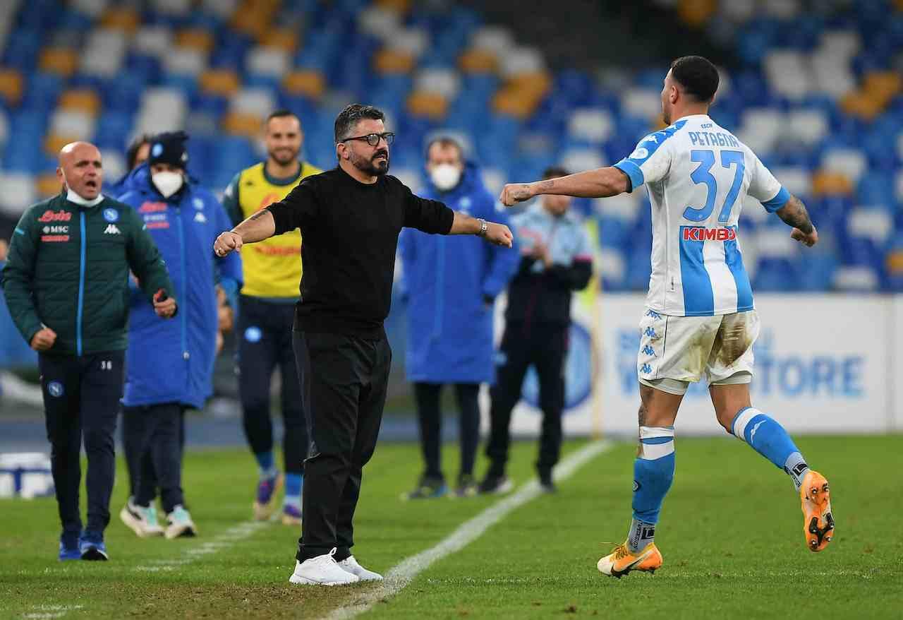 L'abbraccio tra Petagna e Gattuso in Napoli-Sampdoria. Getty Images