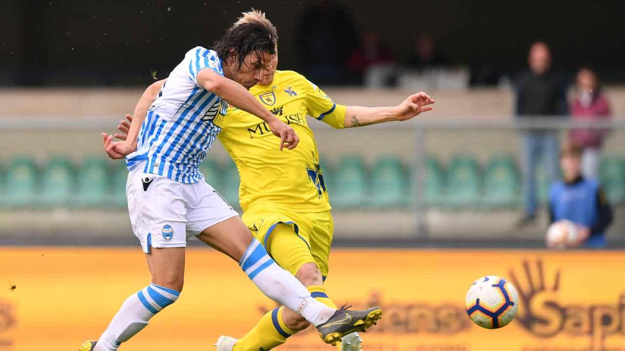 SPAL, Sergio Floccari segna la seconda rete durante la partita di Serie A con il Chievo Verona, 4 maggio 2019 (foto di Tullio M. Puglia/Getty Images)