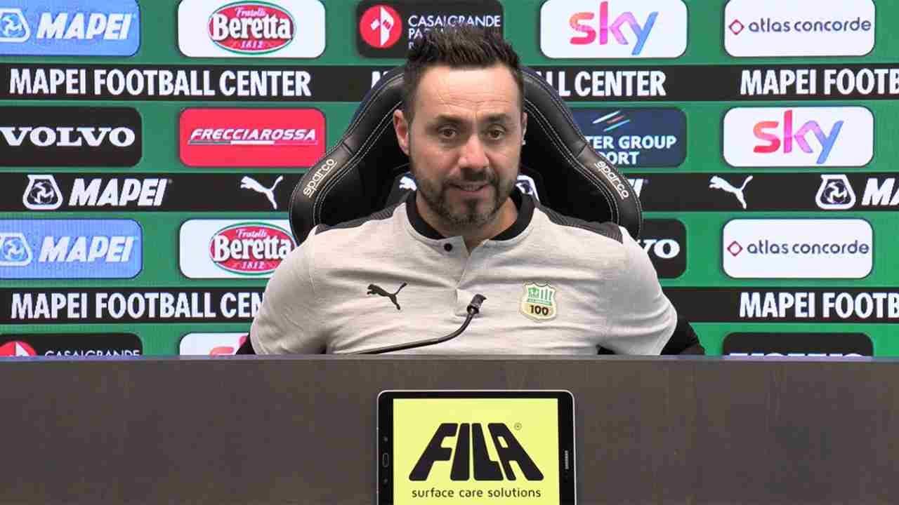 Sassuolo, il tecnico De Zerbi in conferenza stampa, 15 dicembre 2020 (foto © Sassuolo)