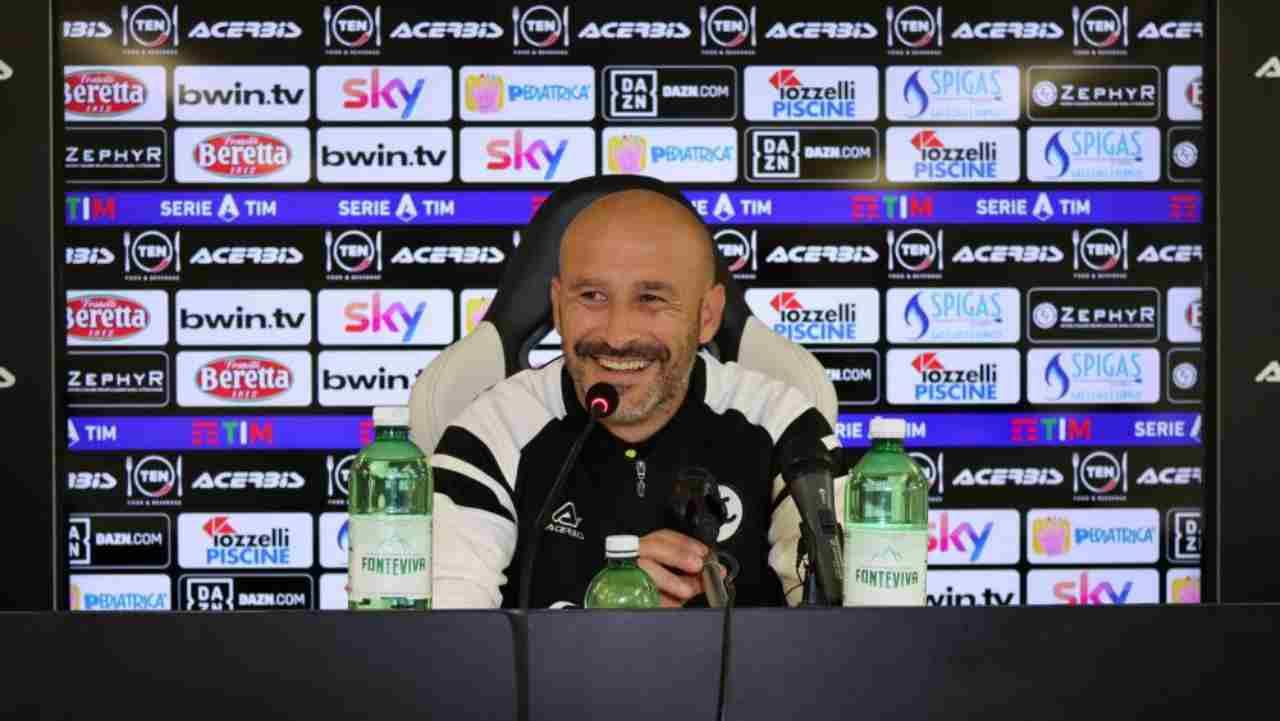 Spezia, il tecnico Italiano in conferenza stampa, 11 dicembre 2020 (foto © Spezia)