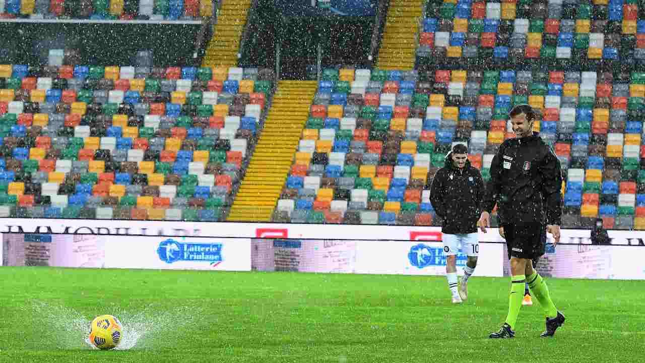 La partita Udinese-Atlanta del 6 dicembre 2020 è rstata inviata causa maltempo (Foto di Alessandro Sabattini/Getty Images)