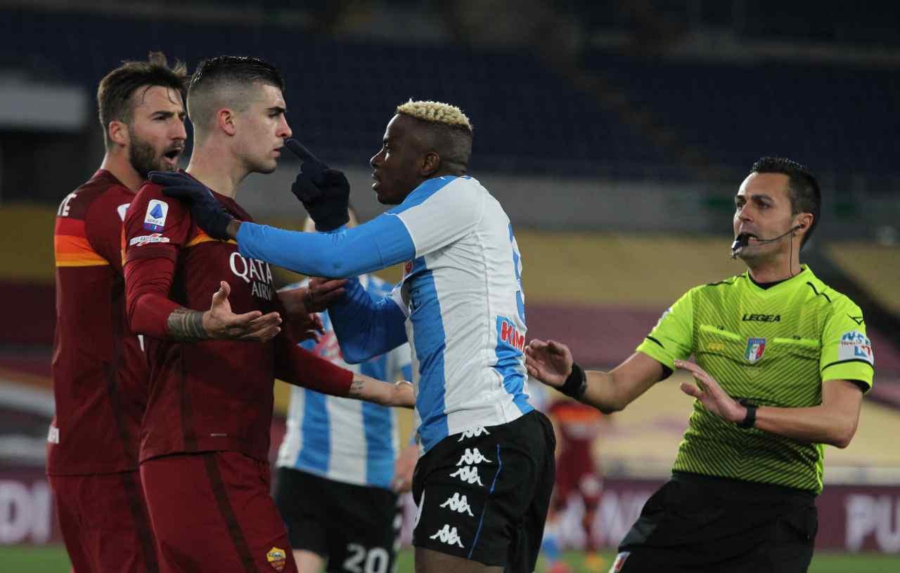 Lo scontro a muso duro tra Osimhen e Mancini. Getty Images
