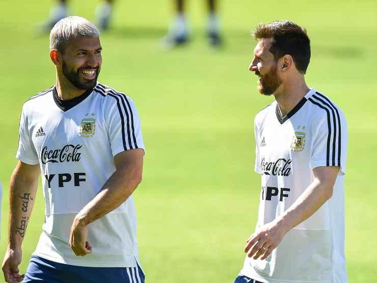Nazionale argentina, da sinistra: Sergio Aguero e Leo Messi si allenano a Cidade do Galo in Brasile, 18 giugno 2019 (foto di Pedro Vilela/Getty Images).
