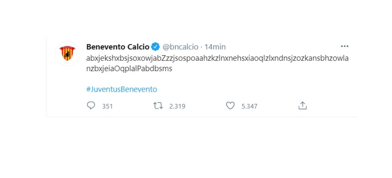Il simpatico tweet del Benevento (Twitter)