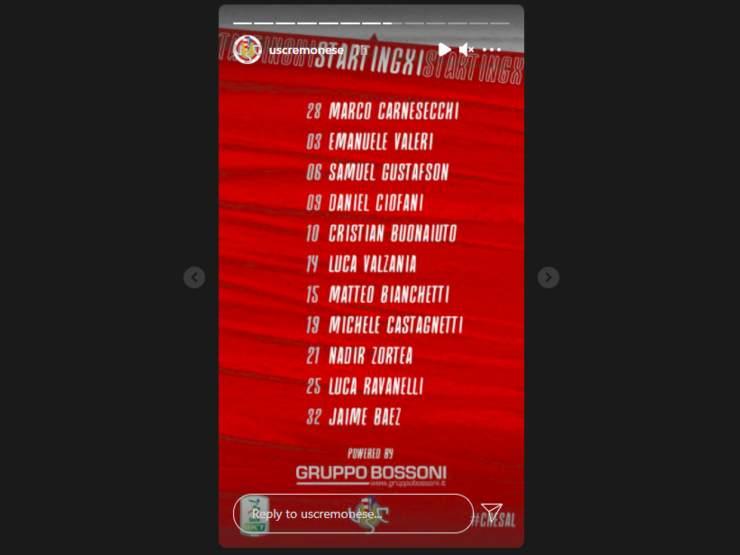 Cremonese, ecco i titolari per la partita di Serie B del 6 marzo con la Salernitana (Storia Instagram @uscremonese)