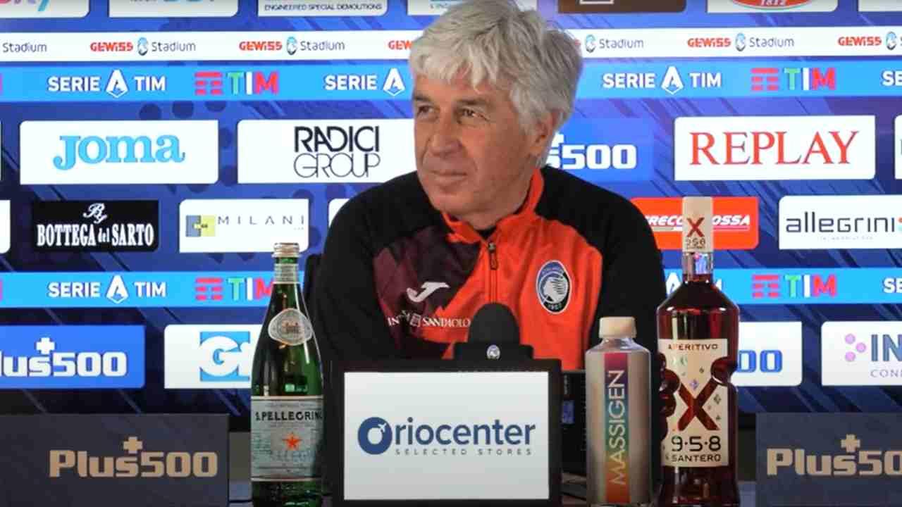 Atalanta, il tecnico Gian Piero Gasperini in conferenza stampa, 20 marzo 2021 (foto © Atalanta Bergamasca Calcio)