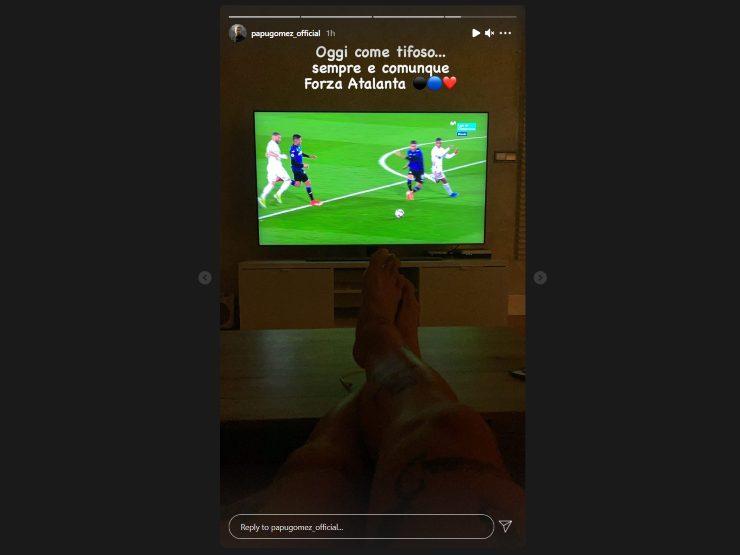 Papu Gomez, ex giocatore dell'Atalanta, fa il tifo per i nerazzurri nella partita di Champions League con il Real Madrid. 16 marzo 2021 (Storia Instagram ©papugomez_official)