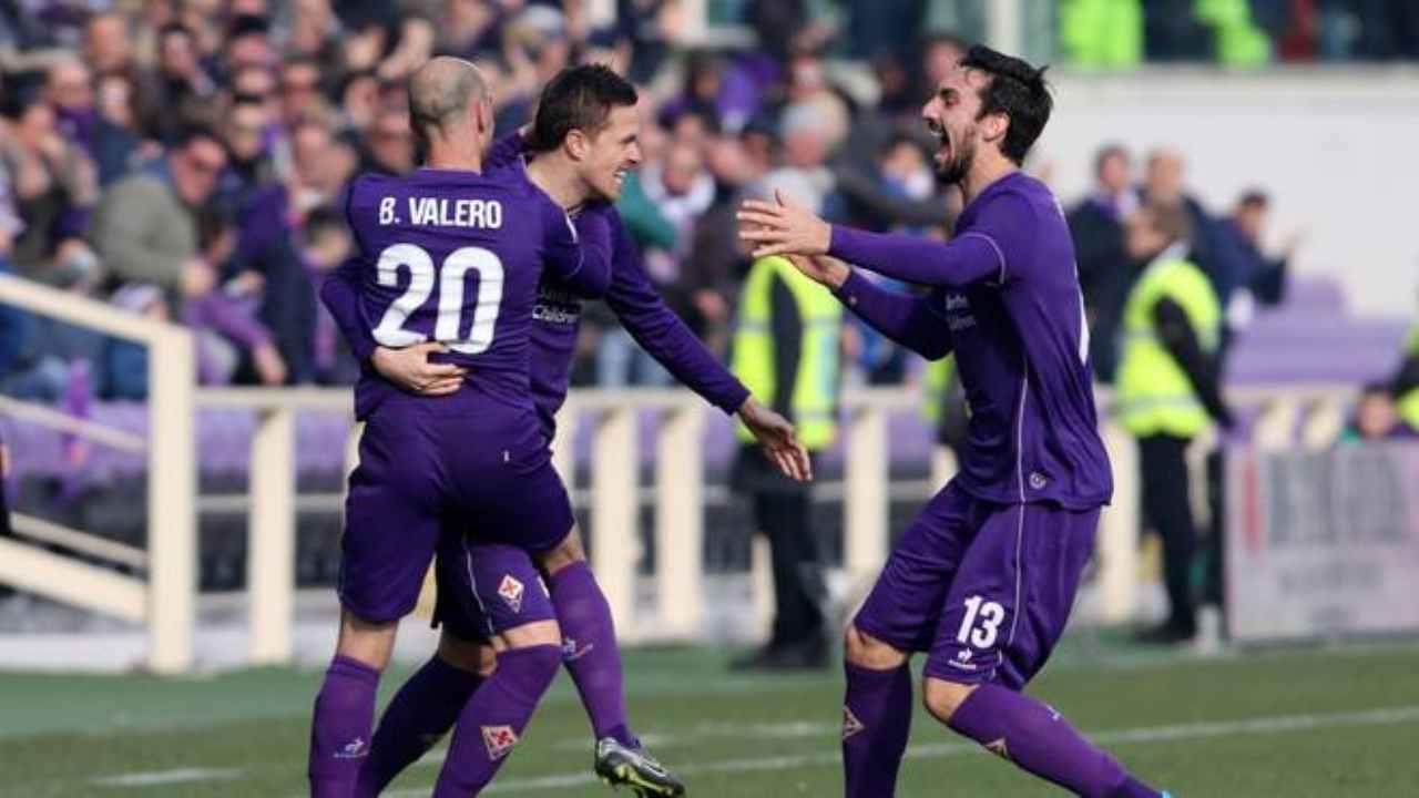 Fiorentina, da sinistra: Borja Valero, Josip Ilicic e Davide Astori, anno 2016
