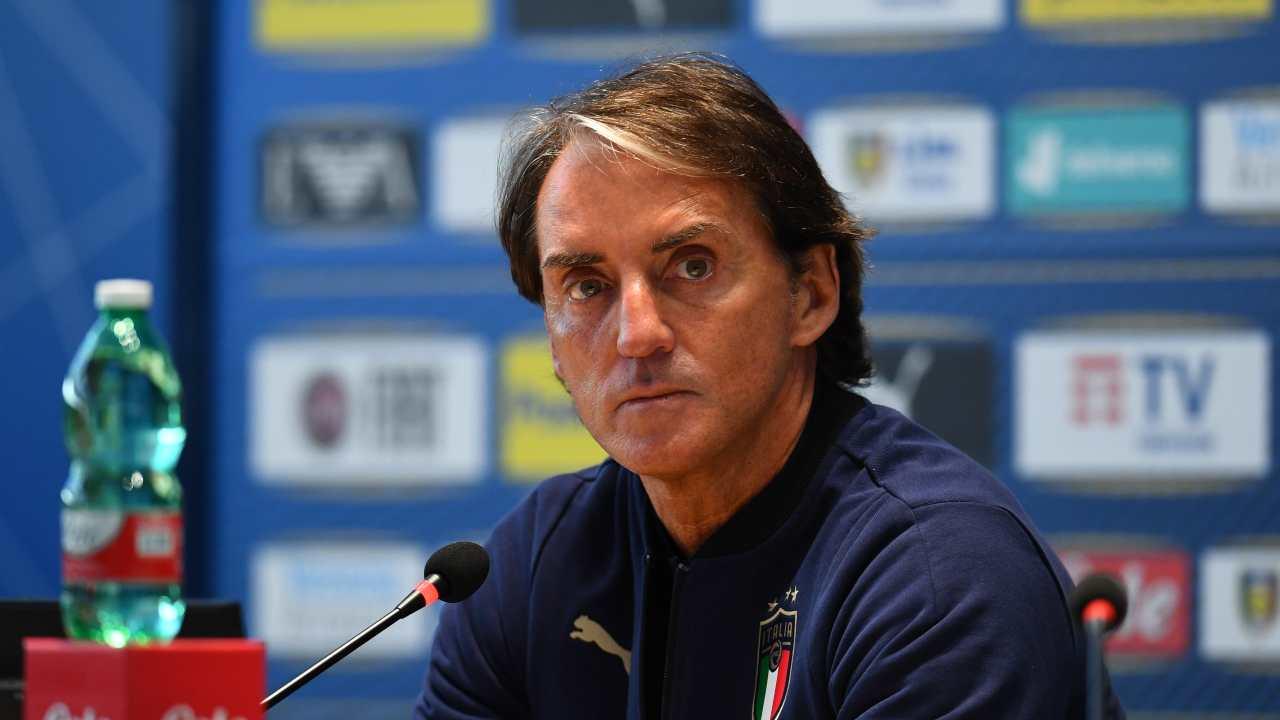Italia, l'allenatore Roberto Mancini in conferenza stampa al Centro Tecnico Federale di Coverciano, 22 marzo 2021 (foto di Claudio Villa/Getty Images).