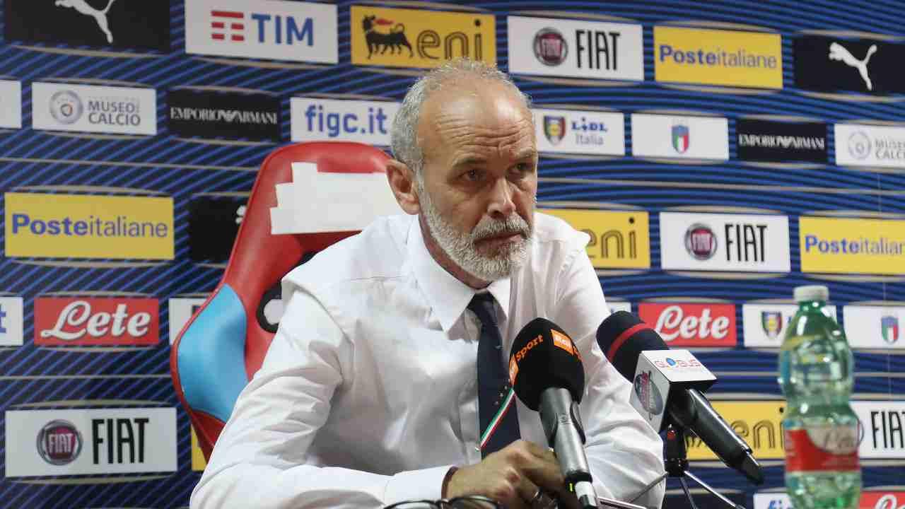 Italia U21, il tecnico Paolo Nicolato in conferenza stampa prima della partita amichevole con la Moldavia U21. Stadio Angelo Massimino di Catania, 5 settembre 2019 (foto di Maurizio Lagana/Getty Images).