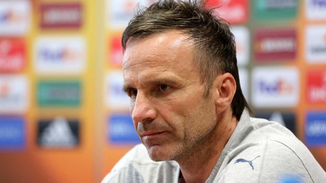 Repubblica Ceca U21, il tecnico Karel Krejčí in conferenza stampa (foto © Česká fotbalová reprezentace)