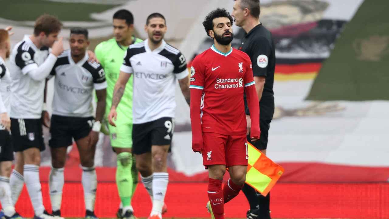 Liverpool, Mohamed Salah durante la partita di Premier League con il Fulham, 7 marzo 2021 (foto di Clive Brunskill/Getty Images)