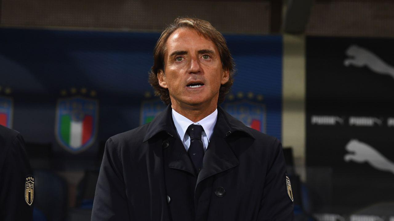 Nazionale italiana, il tecnico Roberto Mancini a bordocampo durante la partita di Nations League con l'Olanda, 14 ottobre 2020 (foto di Claudio Villa/Getty Images)