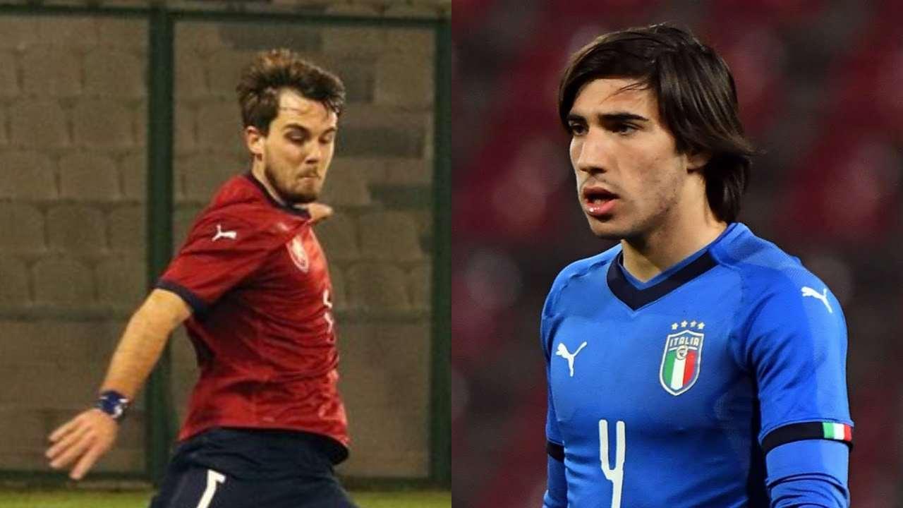 Da sinistra: il centrocampista Repubblica Ceca U21 Pavel Bucha ed il mediano dell'Italia U21 Sandro Tonali (foto © FIGC, Česká fotbalová reprezentace).
