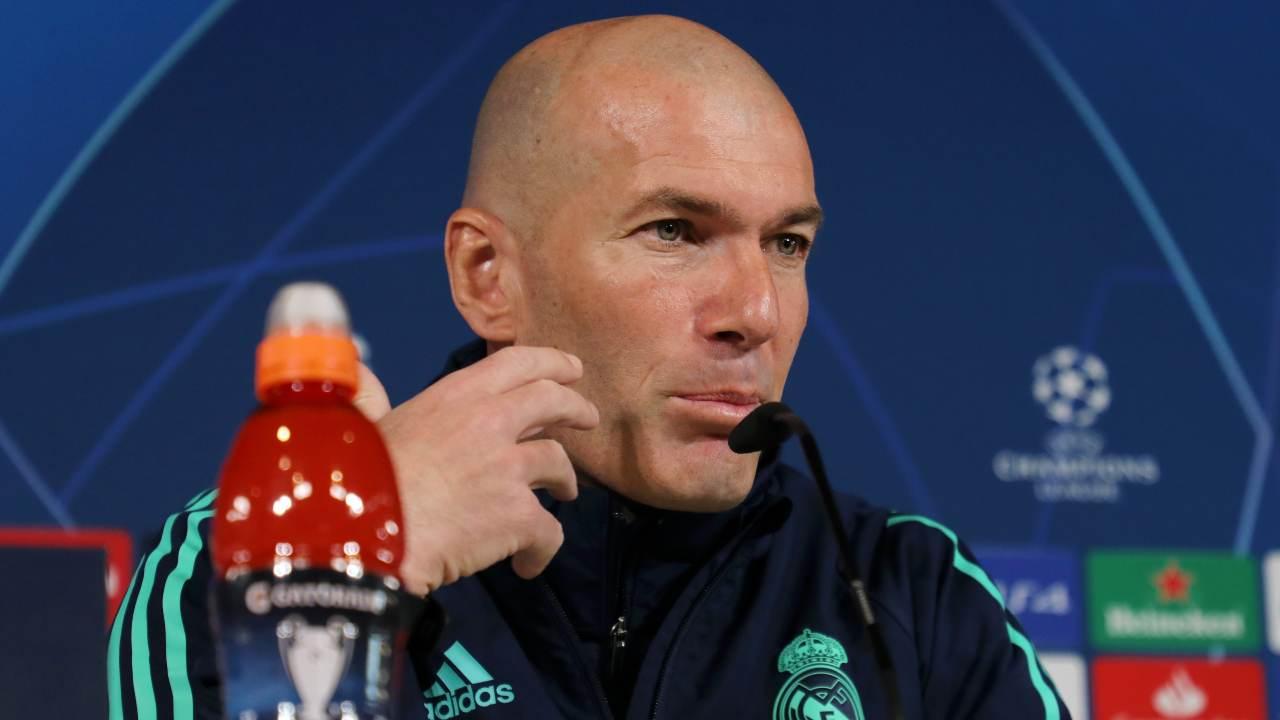 Real Madrid, l'allenatore Zinedine Zidane in conferenza stampa prima della partita di Champions League con il Manchester City, 25 febbraio 2020 (foto di Angel Martinez/Getty Images)
