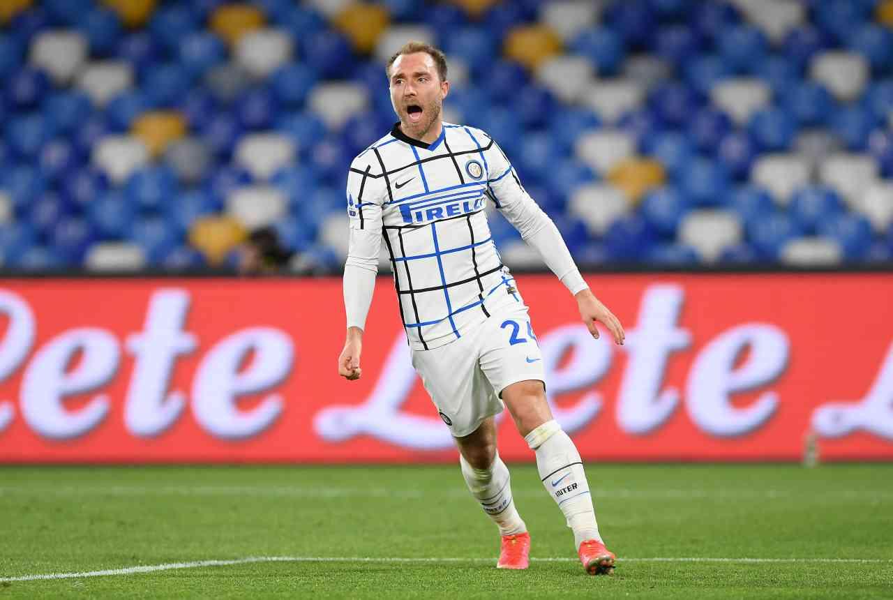 L'esultanza di Eriksen in Napoli-Inter. Getty Images