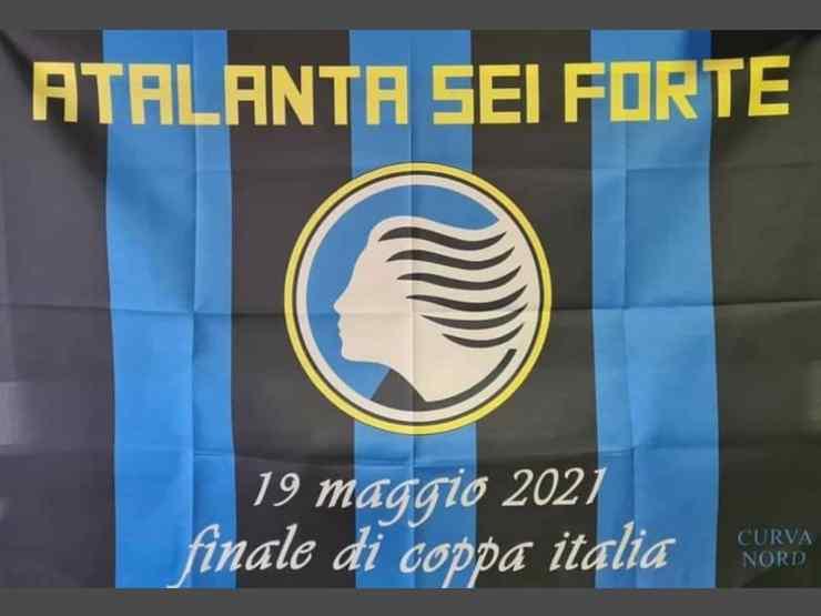 Atalanta, la bandiera preparata dai tifosi della Curva Nord per la finale di Coppa Italia con la Juventus del 19 maggio 2021 (foto © Curva Nord Atalanta).
