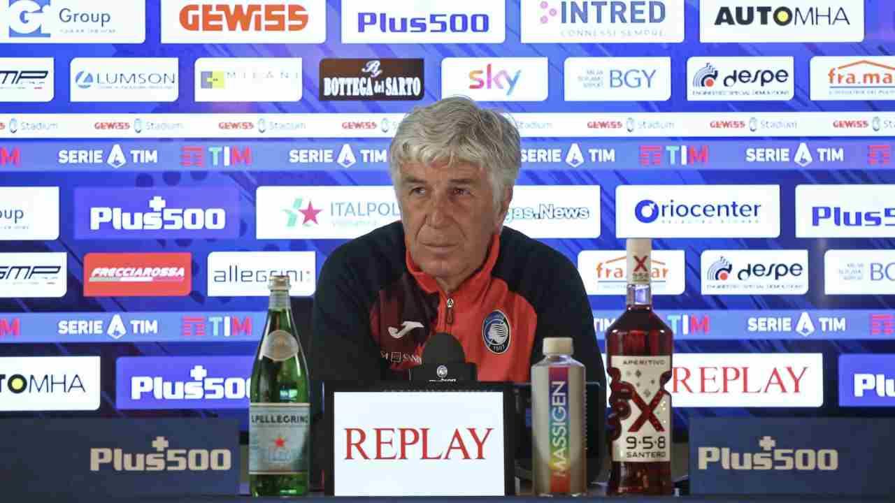 Atalanta, il tecnico Gian Piero Gasperini in conferenza stampa prima della gara di Serie A con il Bologna. 24 aprile 2021 (foto © Atalanta Bergamasca Calcio).