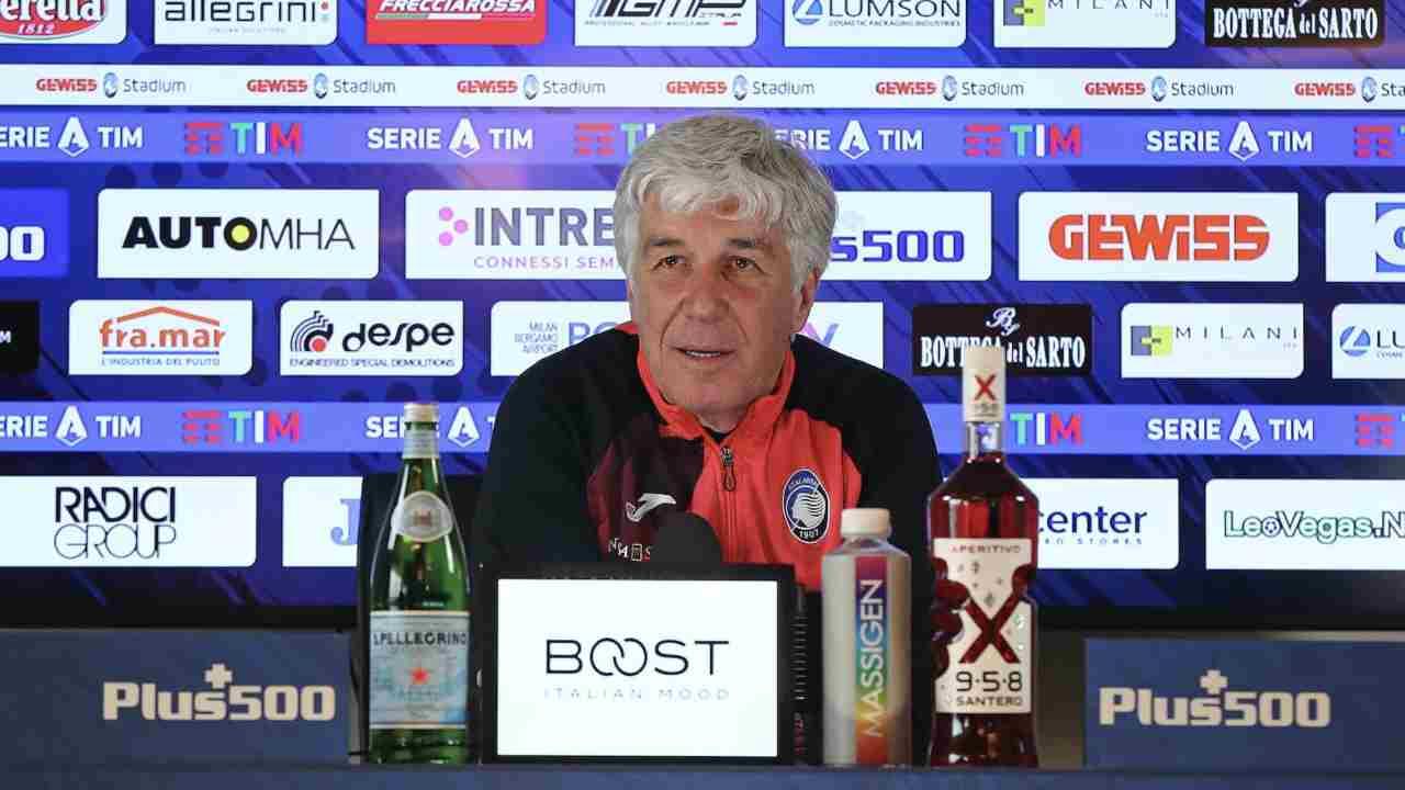 Atalanta, il tecnico Gian Piero Gasperini in conferenza stampa prima della gara con la Juventus. Zingonia, Centro Sportivo Bortolotti, 17 aprile 2021 (foto © Atalanta Bergamasca Calcio).