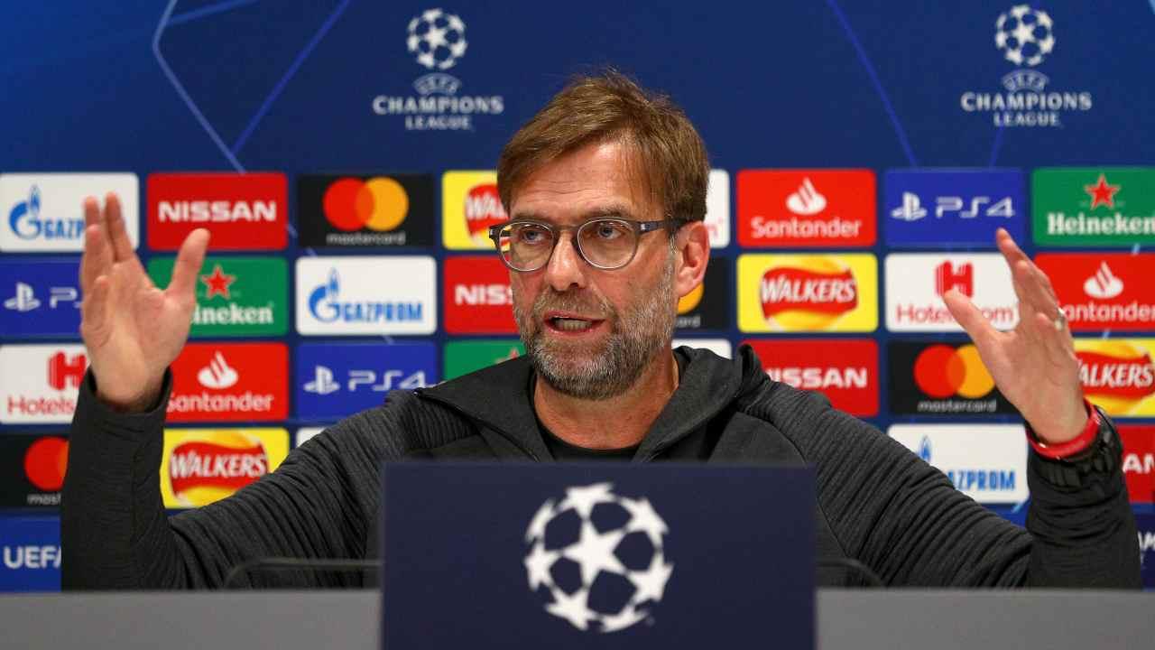 Liverpool, il tecnico Jurgen Klopp in conferenza stampa prima della gara con l'Atletico Madrid. Champions League, 11 marzo 2021 (foto di Jan Kruger/Getty Images).