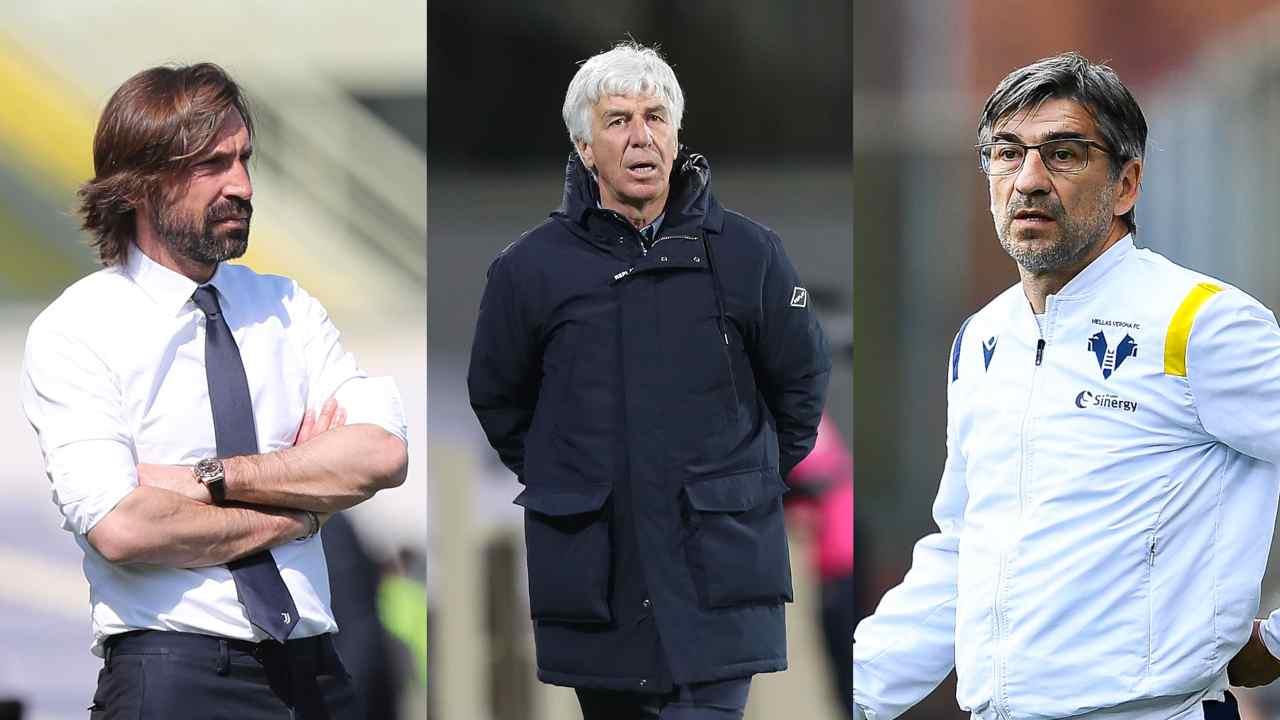 Da sinistra: l'allenatore della Juventus Andrea Pirlo, il tecnico dell'Atalanta Gian Piero Gasperini e l'allenatore dell'Hellas Verona Ivan Juric (foto Gabriele Maltinti/Getty Images).