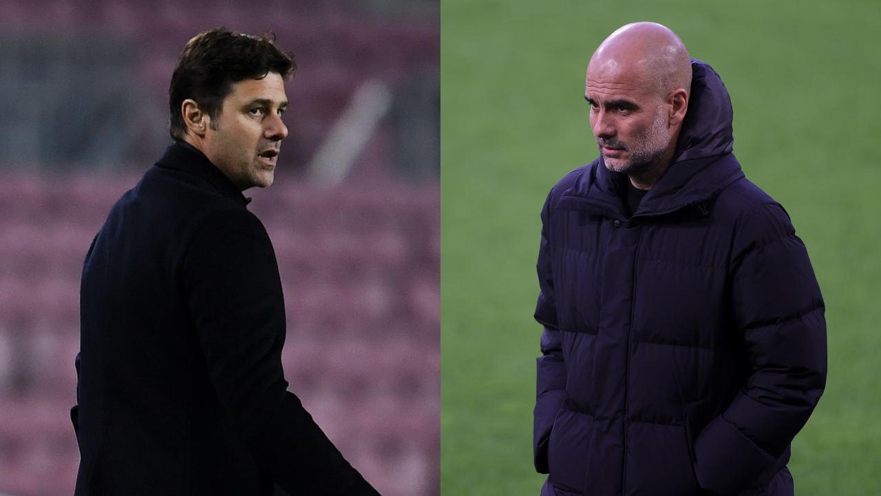 Da sinistra: l'allenatore del PSG Mauricio Pochettino ed il tecnico del Manchester City Pep Guardiola (foto di David Ramos/Friedemann Vogel - Pool/Getty Images).
