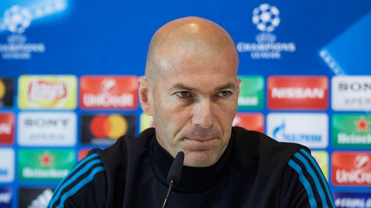 Real Madrid, il tecnico Zinedine Zidane in conferenza stampa per la presentazione della partita con il Liverpool. Champions League, 22 maggio 2018 (foto di Gonzalo Arroyo Moreno/Getty Images).
