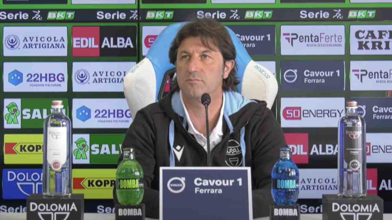 SPAL, il tecnico Massimo Rastelli durante la conferenza stampa di presentazione della gara di Serie B con il Brescia. 30 aprile 2021 (foto © Società Polisportiva Ars et Labor).