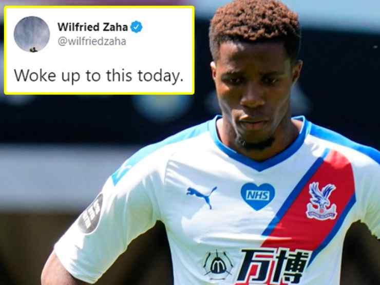 Premier League, l'attaccante del Crystal Palace Wilfried Zaha è tornato più volte a lamentare gli insulti razziali (foto ©talkSPORT).