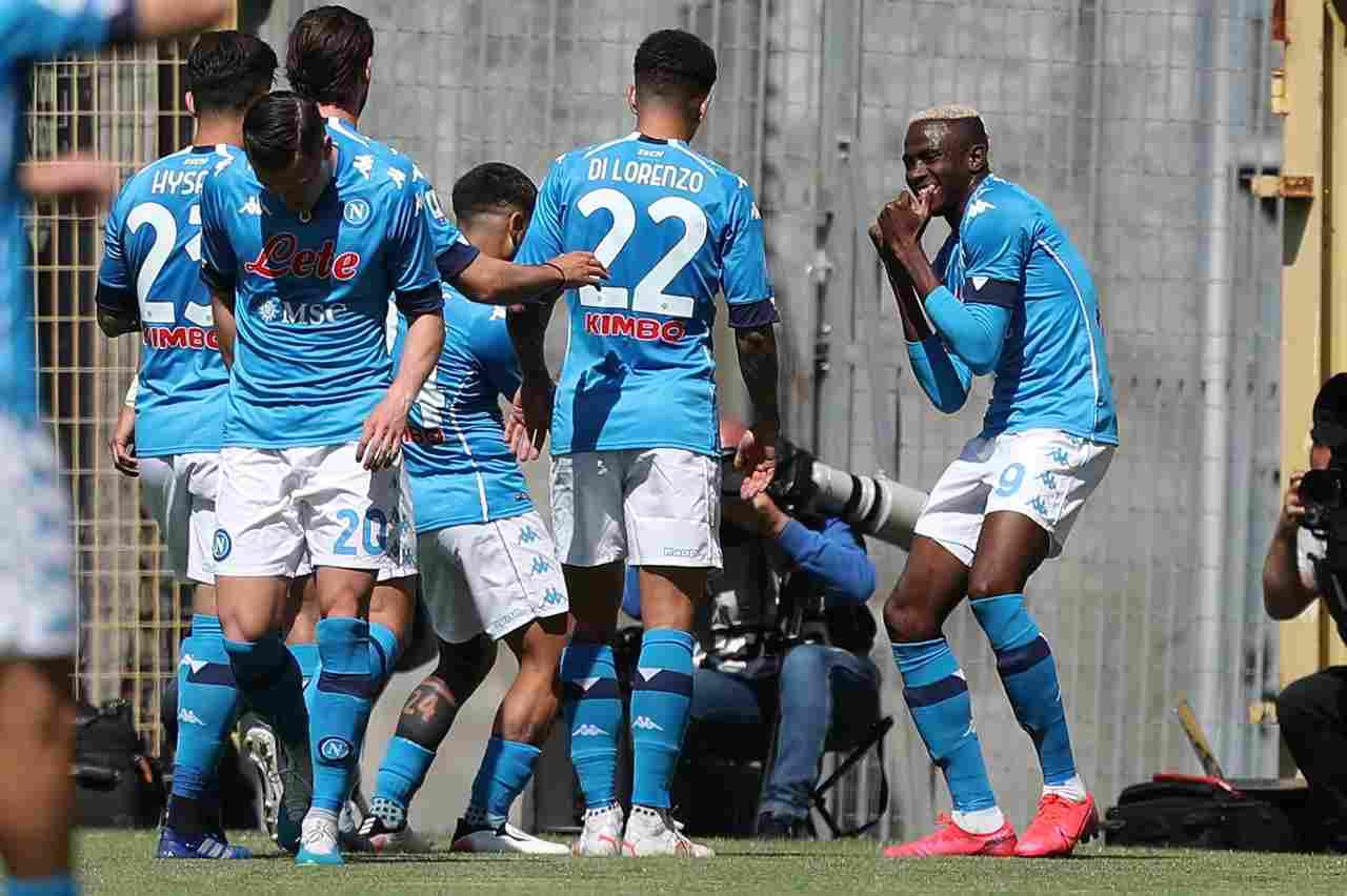 L'esultanza del Napoli contro lo Spezia. Getty Images