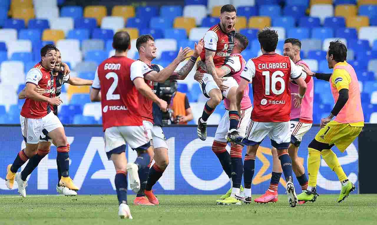 L'esultanza del Cagliari contro il Napoli. Getty Images