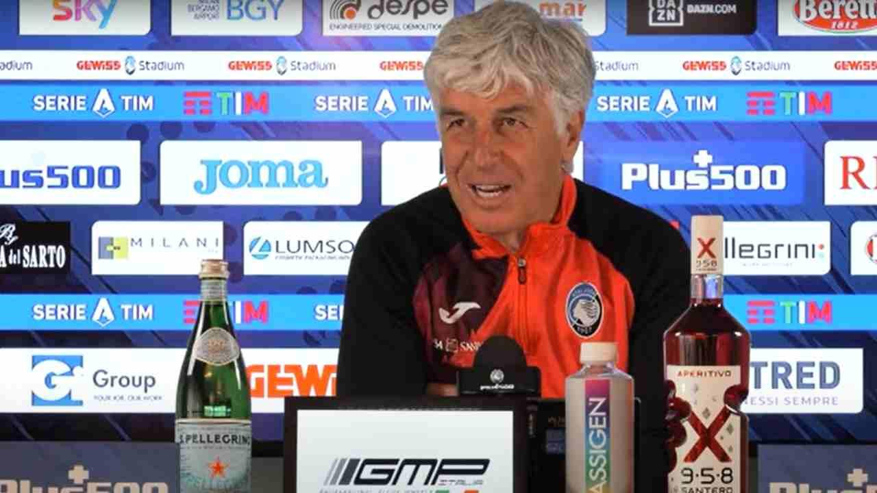 Atalanta, il tecnico Gian Piero Gasperini nella conferenza stampa di presentazione della gara con il Parma. Serie A, 8 maggio 2021 (foto © Atalanta Bergamasca Calcio).