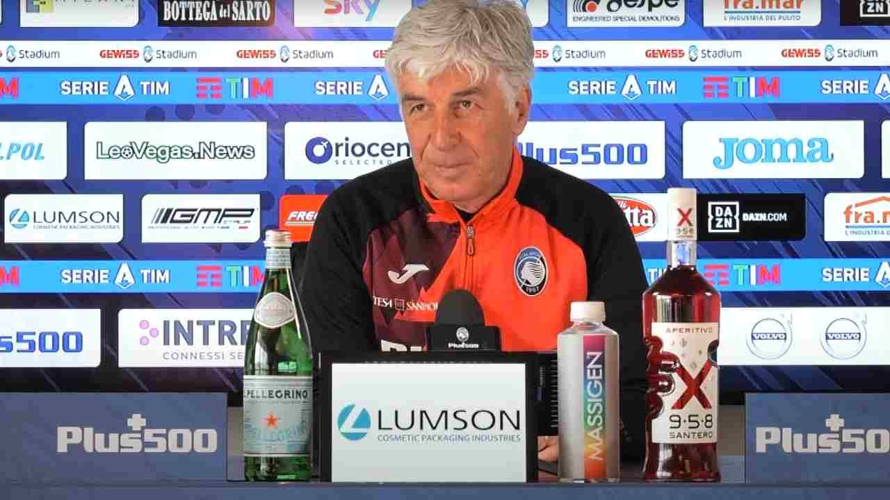 Atalanta, il tecnico Gian Piero Gasperini in conferenza stampa prima della gara con il Sassuolo. Serie A, 30 aprile 2021 (foto © Atalanta Bergamasca Calcio).