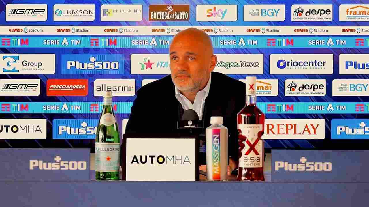 Atalanta, l'amministratore delegato Luca Percassi in conferenza stampa prima della partita con il Milan. Serie A, 22 maggio 2021 (foto © Atalanta Bergamasca Calcio).