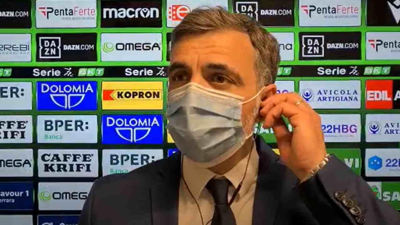 Cremonese, il tecnico Fabio Pecchia parla con la stampa al termine della gara con la SPAL che chiude la stagione 2020/21. Serie B, 10 maggio 2021 (foto © U.S. Cremonese).