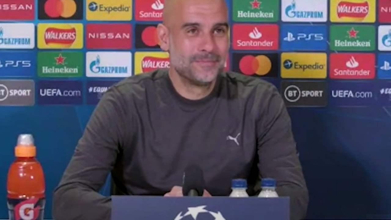 Manchester City, il tecnico Pep Guardiola nella conferenza stampa di presentazione della gara con il PSG. Champions League, semi-finali, 3 maggio 2021 (foto © Manchester City).