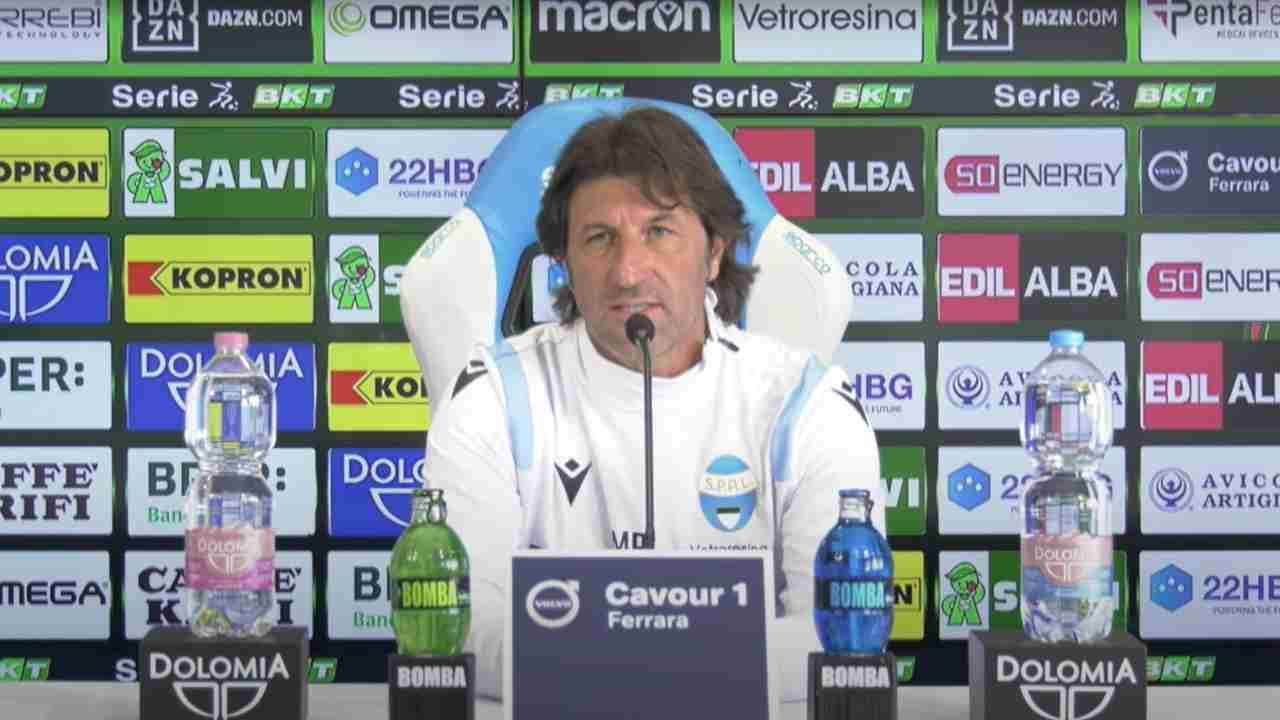 SPAL, il tecnico Massimo Rastelli nella conferenza stampa di presentazione della gara con la Reggiana. Serie B, 6 maggio 2021 (foto © SPAL).