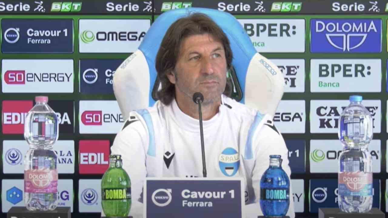 SPAL, il tecnico Massimo rastelli nella conferenza stampa di presentazione della partita con la Cremonese. Serie B, 9 maggio 2021 (foto © SPAL Ferrara).