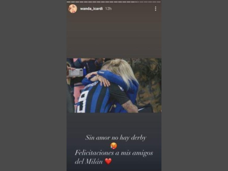 Wanda Nara: ecco la Storia pubblicata su Instagram a seguito della sconfitta dell'Inter nel derby con il Milan del 17 ottobre 2020.